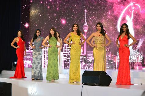 Miss Universe Malaysia 2015 Top 6 (L-R) Vanessa Tevi, Sugeeta Chandran, Pauline Tan, Meera Maniar,. Kelly Jagan and Jenny Wong