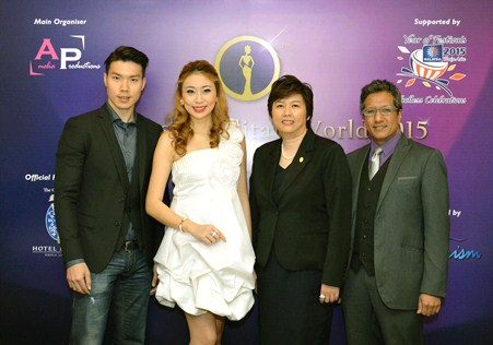 (L-R) John Oh, Amelia LIew, Susan Goh and Kenny at the media launch of the Miss Cosmopolitan World 2015 pageant