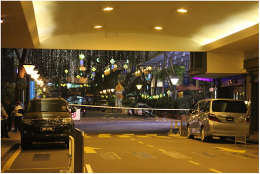 Cordoned off section near Low Yat Plaza