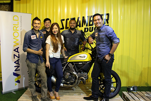 From Left: Mr. Ngo Yoke Kwang (Owner and Operator of Ducati Welly Sungai Buloh 2.     Mr. Ngo Kim Sieng – Operation Director, Ducati Welly Sungai Buloh),     Ms. Bee Ngo – Operation Director, Ducati Welly Sungai Buloh 4.     Mr. Sam Sharman – Head of Company, Next Bike Sdn Bhd, NAZA World Group of Companies 5.     Mr. Juan Chow Wee – Vice President 1 of 2-Wheel Division, NAZA World Group of Companies