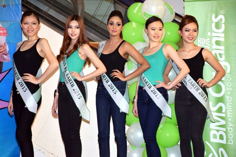 Miss KL Earth 2015 hopefuls (from left) Angelia Lim, Cassie Chee, Paveetha Panir Selvam, Venny Lim and Jane Lung