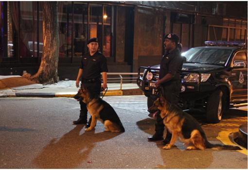 Police K9 Unit were seen near The Royale Bintang Hotel