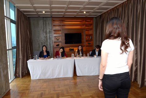 A Miss West Malaysia Kebaya 2015 participant faces the judges during the audition