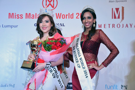 Miss Malaysia World 2015 3rd Runner Up Catherine Chow Kit May (left)