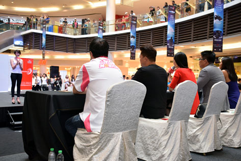 The hopefuls facing a panel of judges during audition