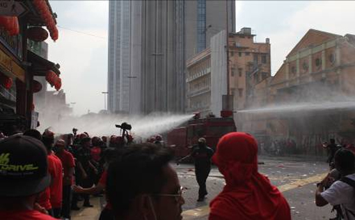 FRU briefly fired water canon against the rowdy protesters after several warning to disperse but went unheeded