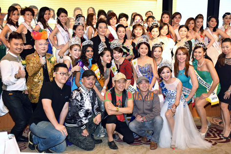 Finalists of Miss & Mrs Malaysia Petite World 2015 pageant posing with sponsors, partners and beauty queens