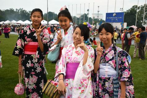 Japanese girls in their best Yukata at Bon Odori 2015 in Shah Alam
