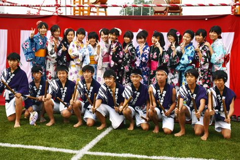 Junior High School students of The Japanese School of Kuala Lumpur pose for a group photo before Bon Odori kicks off