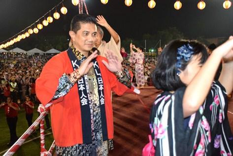 Selangor Mentri Besar Azmin Ali joining in the Bon Odori dance.