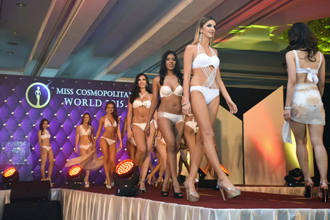 Contestants parading in their swim wear