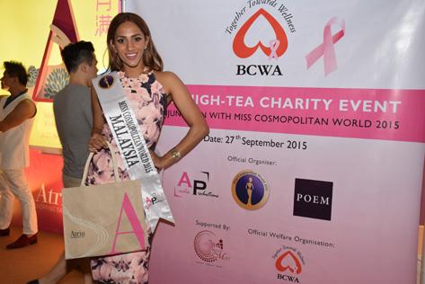 Miss Cosmopolitan World Malaysia 2015 Kohinoor Kaur is happy to help bring breast cancer awareness to women.