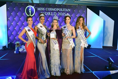 Miss Cosmopolitan World 2015 winner Rachel Harradence (centre) is flanked by (L-R) Andrea Ankovic (3rd RU), Kohinoor Kaur (2nd RU), Monique Song (1st RU) and Rebecca Boggiano (4th RU).