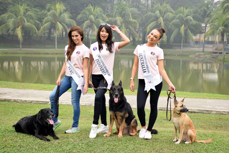 Miss Cosmopolitan World contestants pose for charity photoshoot at Central Park