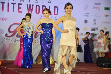 Miss Malaysia Petite World 2015 contestants parading in their evening wear