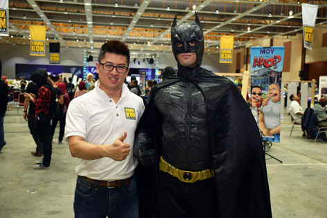 Komik Kon co-founder and organiser Chee Kee Poey and Batman