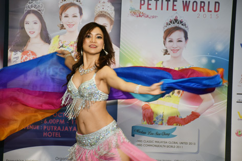 Mrs Malaysia Petite World 2015 Cecelia Lee performs a belly dance