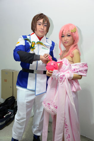 Kira Yamato (left) and Lacus Clyne (right) from anime TV series Gundam Seed Destiny