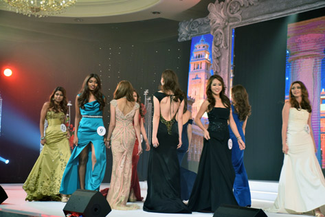 Contestants parading in their evening gown round