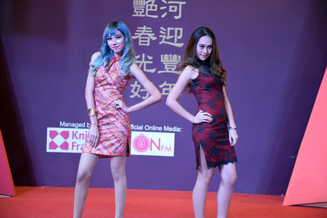 Models in cheongsam at X Brand Ambassadors fashion show