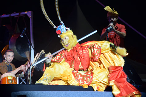 A Monkey King making its appearance during the wayang kulit shadow play