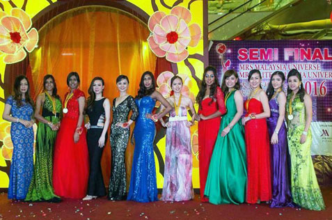 Finalists of the Mrs Malaysia Universe 2016 pose for photographs in evening wear. The pageant is organised by Yinzi Event & Marketing.