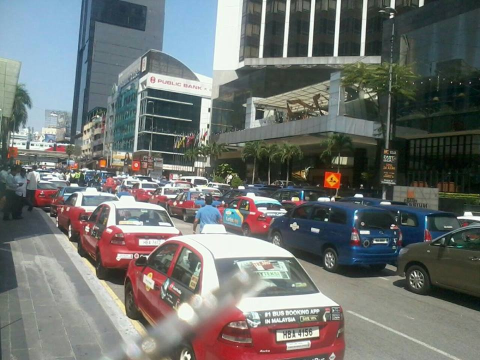 About 100 taxi's were left unattended along both sides of the road, creating a one-lane bottleneck near the Pavilion Shopping Mall.