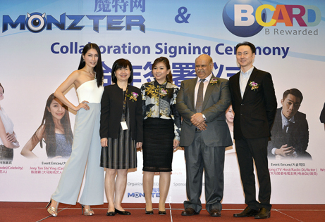 International model Amber Chia  (first from left) in a pose with (L-R) Ooi, Dato' Selina Eu, Dato' Azlan Meah Ahmed Meah and Daniel Phan