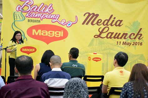 Nestle Malaysia foods division business executive manager Rosalyn Simba delivering her speech at the Balik Kampung With Maggi Ramadan Contest launch