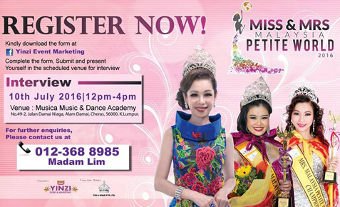 Miss & Mrs. Malaysia Petite World 2016 Pageant Calls For Entries