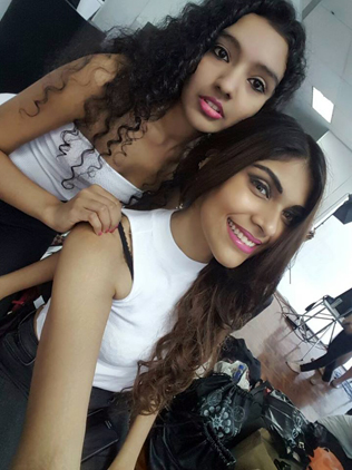 Semi finalists Ghayathri (left) and Joanna Joseph (right) are all excited for the makeover studio photo shoot