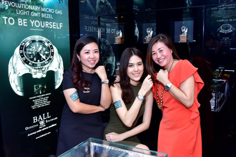 Evelyn Wong, Chloe Chen and Callie Liow proudly showing off their new Ball watches
