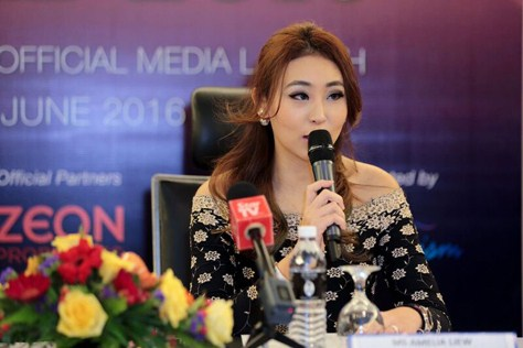 Miss Cosmopolitan World founder and production director Amelia Liew speaking at the Kuala Lumpur launching of the Miss Cosmopolitan World 2016 pageant