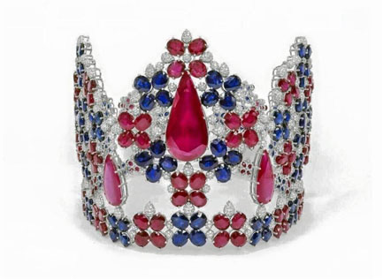A cool US$1.1 million worth of Miss Malaysia World 2016 jewelled crown made of gold, diamonds, rubies and blue sapphires.