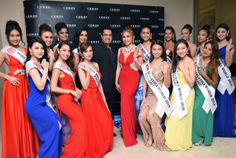 All the 19 finalists of Miss Malaysia World 2016 at the unveiling of US$1.1 million Miss Malaysia World crown
