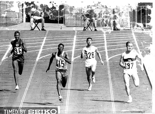 Dr Manikavasagam Jegathesan (second from left) of Malaysia at the 1964 Tokyo Olympics