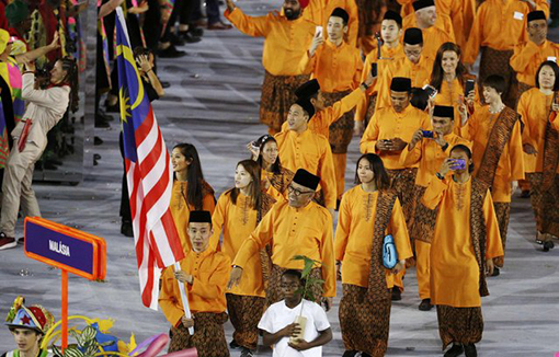 Malaysian contingent at the opening ceremony of Rio 2016