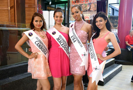From left Miss Cosmopolitan World 2016 delegates Heng Soth Nisay (Cambodia), Kerry Anne (Macedonia), Kiana Harris (USA) and Teeraporn (Thailand)