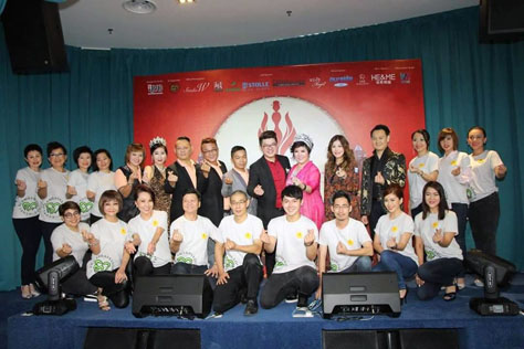 Kelvin Mok (standing, seventh from right) pose for group photo with International Chinese Han Couture 2016 Pageant finalists, sponsors and partners