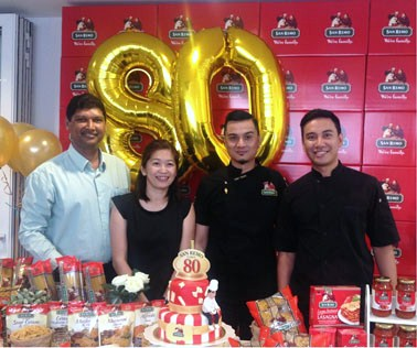 From left GBA Corporation Sdn Bhd general manager Mohan Alagappar, group product manager Chow Siew Yuan, chef Dato Fazley and chef Collin Lam celebrating the 80th anniversary of San Remo